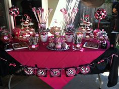 Minnie Mouse and Zebra Print dessert and candy table.