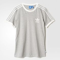 adidas 3-Stripes Tee - Blue | adidas UK (118.290 COP) ❤ liked on Polyvore featuring tops, t-shirts, white stripes t shirt, white t shirt, striped top, blue striped t shirt and blue striped top