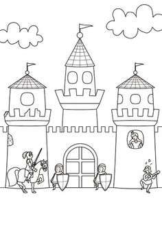 Coloring page Knight: Print Castle for coloring for free - Coloring Pages Coloring Pages For Kids, Coloring Sheets, Adult Coloring, Coloring Books, Chateau Moyen Age, Diy For Kids, Crafts For Kids, Castle Coloring Page, Kids Castle
