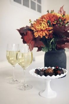 Flowers, wine and candy..