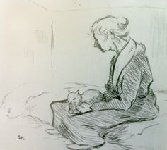 Steinlen  1898  Old Lady with a Cat  Petit Palais Museum