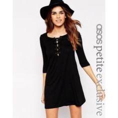 Asos Petite Lace-Up Swing Dress