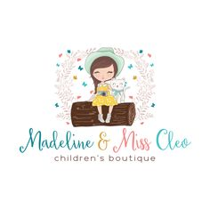 Premade Logo & Blog Header - Sweet Girl & Cat Premade Logo Design - Customized with Your Business Name!
