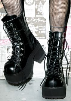Goth Boots by Demonia, Current Mood, Y.R.U and Iron Fist. The perfect black gothic platforms to complete your alternative look