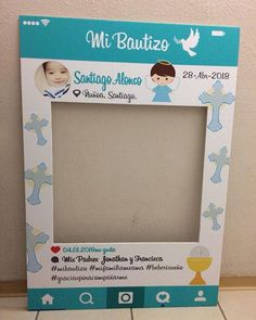 #cuadroselfie para #bautizo tamaño M 70x100cm #chile #santiago Baptism Centerpieces, Baby Boy Themes, Baptism Party, Godchild, Baby Mouse, Ideas Para Fiestas, Christening, Photo Booth, Crafts For Kids