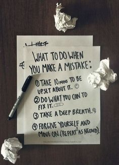 What to do when you make a mistake...