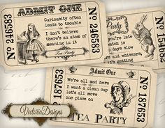 Alice in Wonderland Tea Party Invitation Tickets printable images