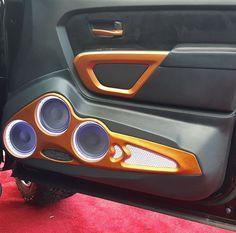 Custom Nissan Titan door panel with speakers. Custom Nissan Titan door panel with speakers. Custom Car Interior, Car Interior Design, Truck Interior, Nissan Titan, Custom Car Audio, Custom Cars, Jl Audio, Audio Speakers, Car Audio Shops