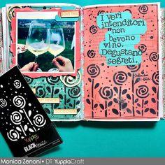 Idea per usare i BLACK Stencil Yuppla Craft #artjournaling #blackstencil #yupplacraft Stencil, Journaling, Cover, Books, Art, Art Background, Libros, Caro Diario, Stenciled Table