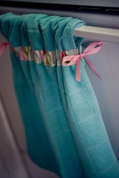 Stay put kitchen towel... some cute bias tape and ribbon and voila!