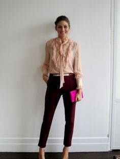 Ruffled blush blouse. Dark cranberry cropped pants and heels.