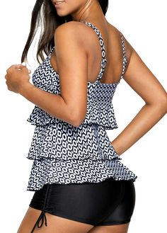 9d7072dd9a1 Black Open Back Printed Layered Tankini Set on sale only US 27.56 now