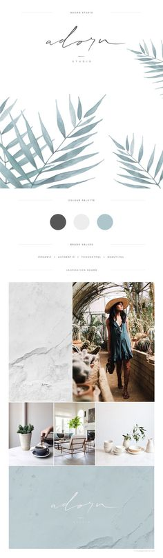Tropical vibes on this brand board. Brand inspiration.