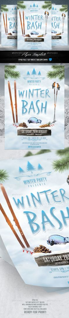 Winter Bash Flyer Template PSD #design Download: http://graphicriver.net/item/winter-bash-flyer-template/13317562?ref=ksioks