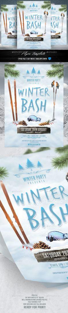Winter Bash Flyer Template PSD #design Download: http://graphicriver.net/item/winter-bash-flyer-template/13317562?ref=ksioks