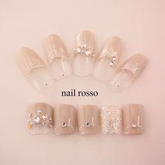 Ou so pretty nude bling nails Glam Nails, Bling Nails, Beauty Nails, Love Nails, Pretty Nails, Wonder Nails, Stick On Nails, Bridal Nail Art, Wedding Nails Design
