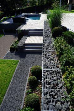 gabionen helfen bei der strukturierung des gartens | trockengarten, Terrassen ideen