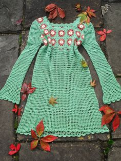 One off ... Vintage 1960s 60s 70s Hand Crochet BOHEMIAN Autumn Fall Dress Scalloped edging Angel bell sleeves S. $74.00, via Etsy.