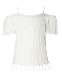 Cold Shoulder Lace Trim Top