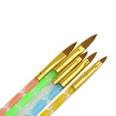 Atacado 5 Pcs Nail Art escova ferramentas Set acrílico UV Gel Builder pintura desenho Brushes canetas Cuticle Pusher ferramenta colorido alishoppbrasil
