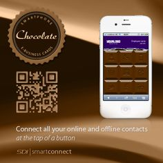 Chalk it up with the blackboard style smartphone business card introducing the chocolate business card for the smartphone one touch connect to all your contact colourmoves