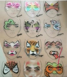 Pin by Terri Carter on Costumes Face Painting Images, Face Painting For Boys, Face Painting Tutorials, Face Painting Designs, Paint Designs, Body Painting, Christmas Face Painting, Art Visage, Face Paint Makeup