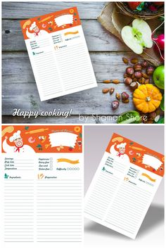Blank Recipe Template, Orange Recipe Page Printable A4 pdf, Color Happy Recipe Planner Sheets Digital Download, Cooking Printables, Foodie Gift Recipes