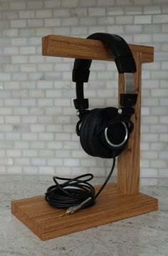 Handmade Wood Headphone Stand The Classic by CPCustomWoodworking