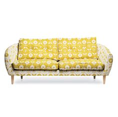 This statement sofa designed by Donna Wilson for the British brand SCP takes a cue from the famous mod-era model Twiggy by using bright yellow floral fabric. Yellow Couch, Best Sofa, Mellow Yellow, Colour Yellow, Bright Yellow, Inspired Homes, Sofa Design, House Colors, Architecture