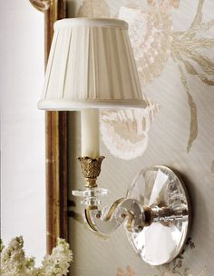 beautiful brass and crystal sconce