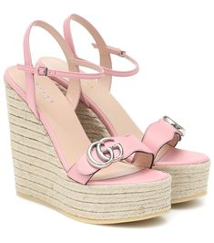 Leather espadrille wedges in rose #Sponsored #espadrille, #Leather, #rose Leather Espadrilles, Leather Heels, Calf Leather, Double G, Dr Shoes, Cute Heels, Luxury Shoes, Vintage Gucci, Resort Wear