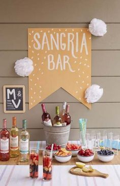 For your next poolside party: a Make-Your-Own Sangria Station. - For your next poolside party: a Make-Your-Own Sangria Station. Create signage with construction p - Sangria Bar, Mimosa Bar, Bubbly Bar, Party Box, Party Time, Taco Bar Party, Party Food Bars, Fiesta Party, Wein Parties