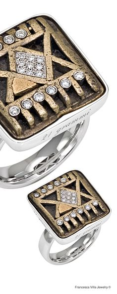 21 Grammi Rombi - Ring in white gold, diamonds and antique African weight from Ghana
