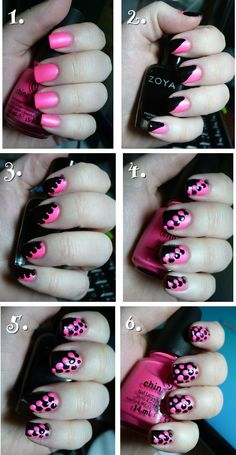 Pink n Black nail tutorial