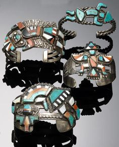 Four Zuni inlay bracelets