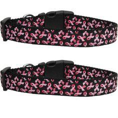 Pink Ribbons on Black Nylon Ribbon Collars