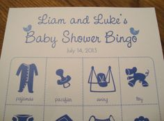 Personalized Baby Shower Bingo Game Cards - 4x4 - Set of 20
