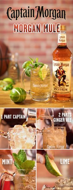Take tailgating to overtime with a delicious Captain & Ginger cocktail from Captain Morgan. To make a one, mix Captain Morgan Original Spiced Rum and ginger ale. Garnish with mint sprig and lime wheel, stir, and enjoy! And remember–a Captain know Spiced Rum Drinks, Bar Drinks, Cocktail Drinks, Cocktail Recipes, Beverages, Ginger Ale Cocktail, Alcoholic Drinks With Ginger Ale, Smoothies, Cocktail
