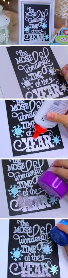 Glittery Chalkboard Print | 25+ DIY Christmas Decor Ideas for the Home