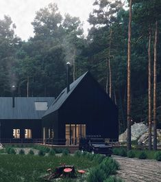 Forest House 🌿🖤 Renders by Future House, My House, House In The Forest, Black Forest House, Black House Exterior, Modern Farmhouse Exterior, House Goals, Style At Home, Home Fashion