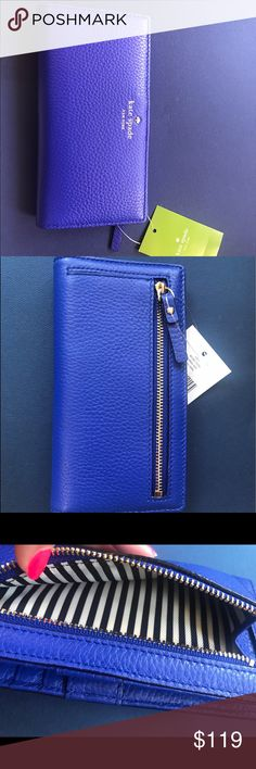 Kate Spade Wallet- Blue and Gold Cow Leather Beautiful wallet! A royal color wallet of superb quality. Beautifully striped within. Brand new! Closed: measures about 3.75 inches in width and 6.75 inches in length. kate spade Bags Wallets