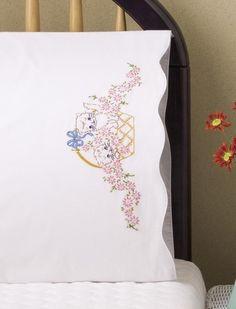 Tobin Stamped #Embroidery #KITTEN #Pillowcases ♥ #ebay #sale ...