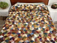 Tumbling Blocks Quilt -- exquisite specially made Amish Quilts from Lancaster…