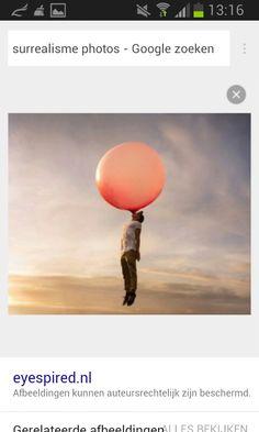 De huiswerkopdrachten om surrealistische foto's op te zoeken. Niet gebruikt omdat ik er later achter kwam dat ik wat heel anders wilde gaan maken. Mijn idee toen ik deze afbeelding zag: Ik wil mijzelf aan een kaugombubbel laten hangen.