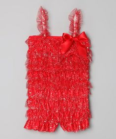 Take a look at this Red Glitter Lace Ruffle Romper - Infant, Toddler & Girls by Hush Little Baby on #zulily today!
