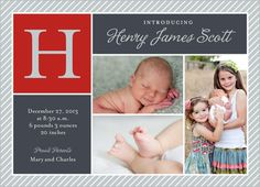 Handsome Pinstripes Boy 5x7 Stationery Card by Blonde Designs