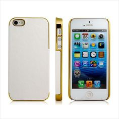 iPhone 5 Arctic White Protective Plastic Skin Case with Gold Frame Trim