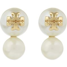 TORY BURCH Evie double pearl stud earrings ($97) ❤ liked on Polyvore featuring jewelry, earrings, ivory, stud earrings, pearl earrings jewellery, tory burch jewelry, ivory jewelry and ivory earrings