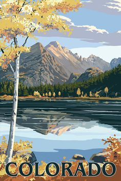 size: Art Print: Colorado - Longs Peak and Bear Lake Fall by Lantern Press : Estes Park Colorado, State Of Colorado, Skyline Art, Travel Illustration, Stock Art, Autumn Art, Poster Prints, Art Prints, Cool Posters