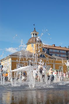 Kajaani city center - fountain at the Town Hall Square